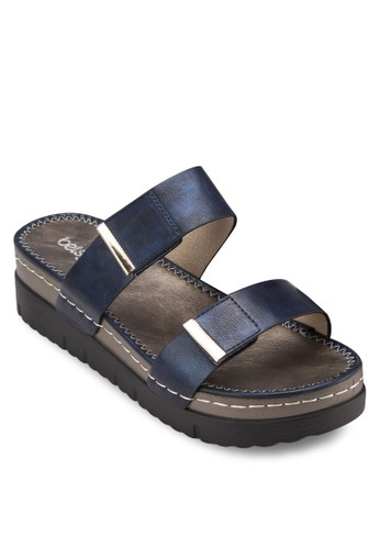 雙寬帶厚底涼鞋zalora 內衣, 女鞋, 鞋