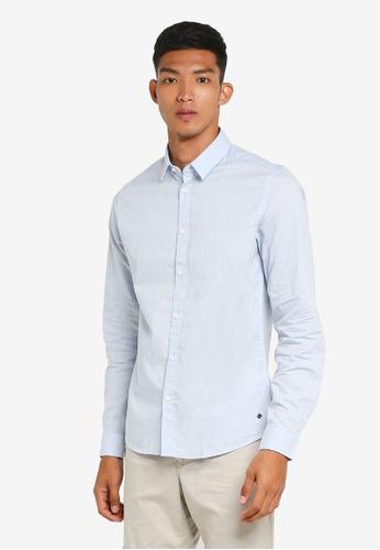 !Solid blue Nardo Long Sleeve Shirt 03181AA32DEFC6GS_1