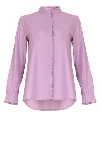 POPLOOK purple Amyda Front Button Blouse F3F33AA6382FF6GS_1