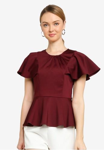 Saturday Club red Sleeved Top With Embellished Neckline DA3DDAA597F4FCGS_1