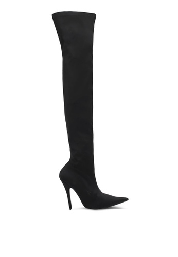 MISSGUIDED black Extreme Pointed Velvet Over Boots MI511SH0SP8EMY_1