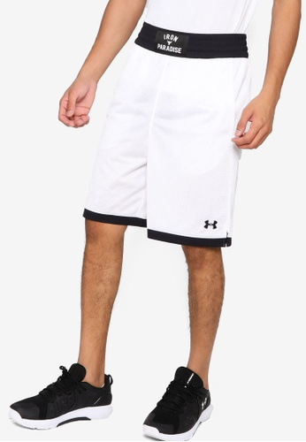 Under Armour white UA Project Rock Mesh Shorts B2A13AA3EE9E04GS_1