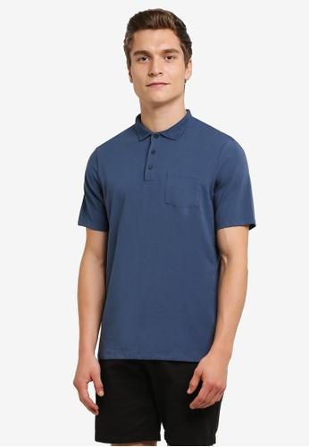 Burton Menswear London 藍色 Stretch Fit POLO 衫 BU964AA0RULQMY_1