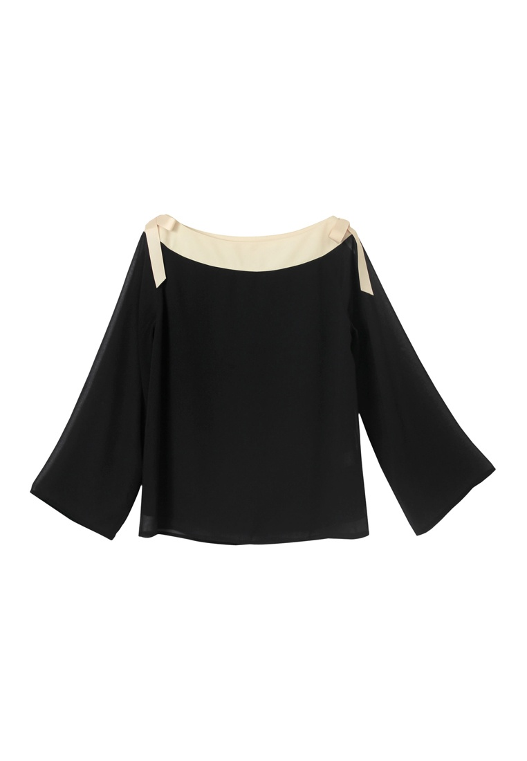 Black Tie Blouse Detail Yoco Contrast H7q6nA