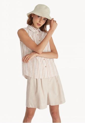 591af01bbec Buy Pomelo Sleeveless Striped Collar Shirt - Nude Online on ZALORA Singapore