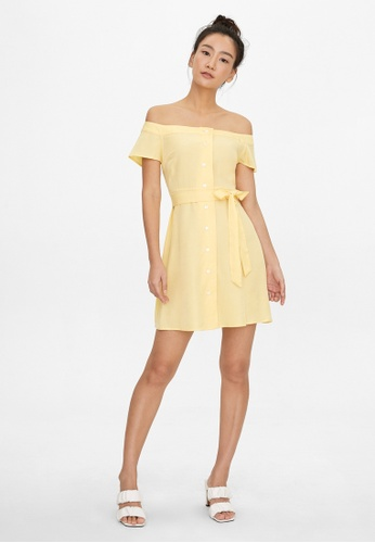 Pomelo yellow Off Shoulder Tie Waist Dress - Yellow BA9A9AA850AA5EGS_1