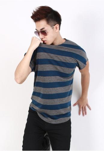 M-Wanted blue M. Stripe Cap Sleeves T-Shirt MW173AA01CWKSG_1