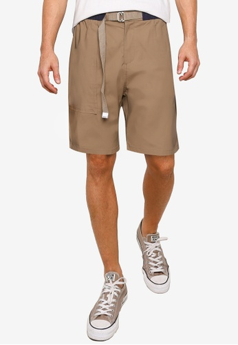 UniqTee brown Chinos Shorts with Belt 9983EAAEBA52A9GS_1