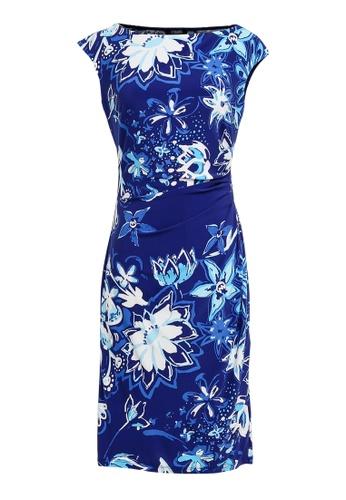 681d5d0e26a CHAPS Chaps Cap-Sleeve Floral Sheath Dress FC925AAA8E1251GS 1