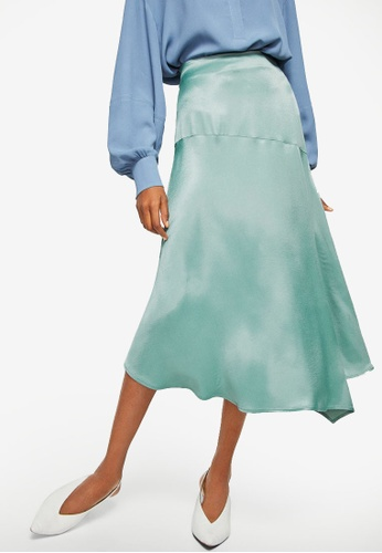 Mango green Satin Asymetric Skirt B0F8DAADE84AB5GS_1