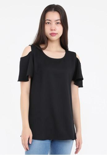 Simplify black Molly Shoulder-cut Shirt Black D8178AA750A69BGS_1