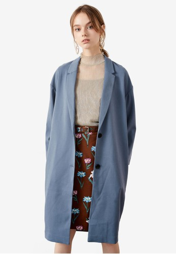 Hopeshow blue Capri Sleeve Long Coat CBC5AAA6AFADF7GS_1