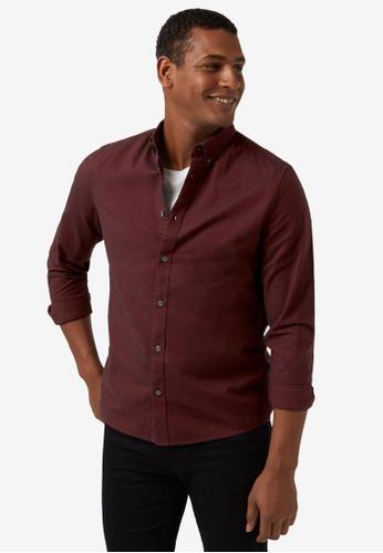 Burton Menswear London red Long Sleeve Oxford E93EEAA6BAECDCGS_1