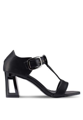 Berrybenka 黑色 素色T字帶粗跟鞋 818F6SH50774DBGS_1