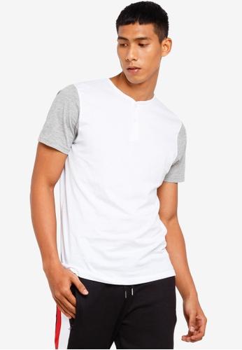 Brave Soul 白色 Contrast Sleeve Henley T-Shirt A2D44AA69370EDGS_1