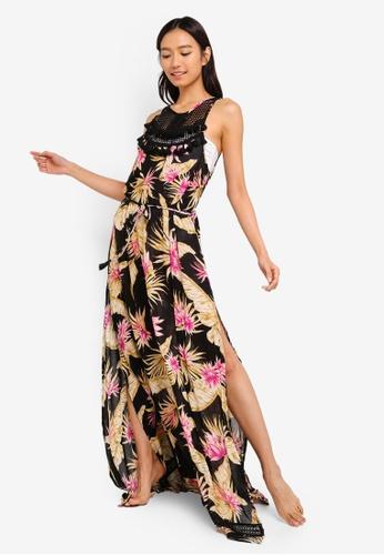 River Island black Palm Print Tassel Trim Beach Dress 5C98EAA615872BGS_1