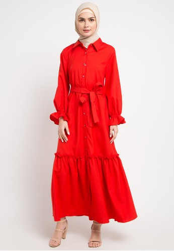 OMARA red Kaela Dress 13010AA32F2BC2GS_1