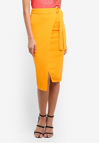 River Island orange D-Ring Wrap Knitted Pencil Skirt 19DE7AA439FA67GS_1