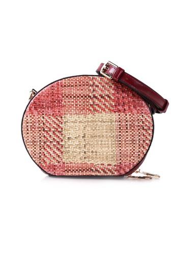 VOIR red VOIR Woven Print Sling Bag - Maroon 5142BACF2465ECGS_1