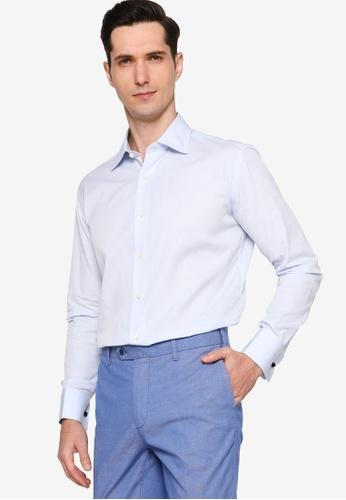Sacoor Brothers blue Men's Regular Fit Oxford Shirt With Cufflinks B633BAA6D9E575GS_1