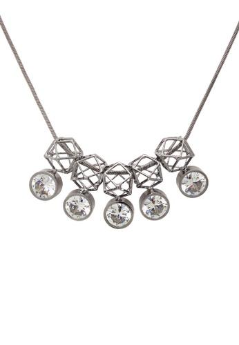 Jaysa Collection silver Avant Garde Gunmetal Silver Polygons Necklace with Class AAA Zirconias JA875AC0GPWOSG_1