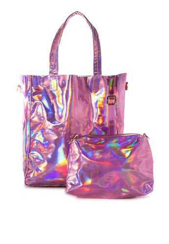 Chase Fashion pink Holographic Tote Bag With Pouch   CH547AC82VQJPH_1
