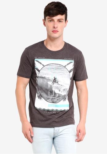 Burton Menswear London 灰色 Charcoal California Surf T-Shirt 4F8B5AA7F05A4DGS_1