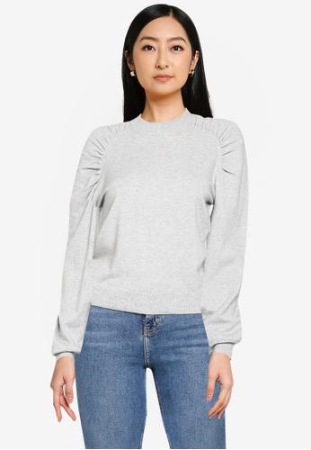JACQUELINE DE YONG grey Kourtney Puff Sleeve Knit Sweatshirt 15ED6AAF258E19GS_1