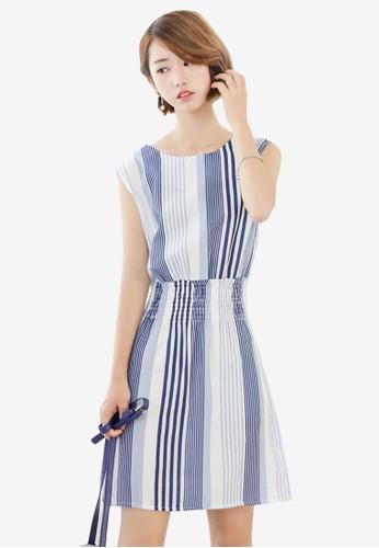 Madina 條紋設計無袖連身裙zalora 包包評價, 服飾, 洋裝