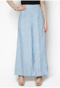 Bold Striped Jeans Palazzo