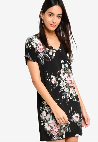 ZALORA black and multi Mix Material Floral Dress 71699AA999CD34GS_1