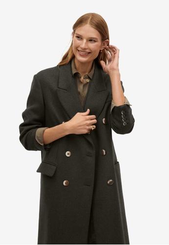 Mango green Wool Double-Breasted Coat 9E658AA7452565GS_1