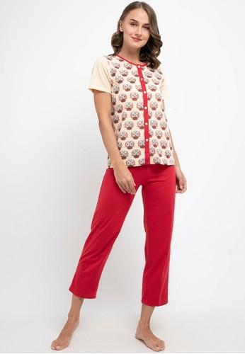 Puppy red and beige Pyjama Pijama Short Sleeve Long Pants Sleepwear 62D0DAA579B593GS_1