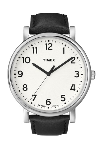 TIMEX black Timex Originals Oversized Black Leather Strap Watch TI857AC93CRMSG_1