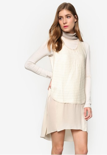 Love 雪紡暗紋裹層zalora退貨連身裙, 服飾, 洋裝