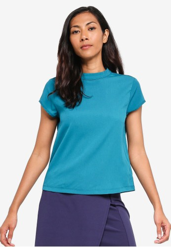 ZALORA BASICS green Basic High Neck Boxy Top 35D99AA7D9C99BGS_1