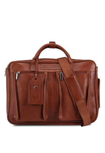 Miajee's brown Ambrogio 21 - Genuine Leather Handcrafted Convertible Laptop Briefcase / Backpack - Brown 1F426AC15F7164GS_1