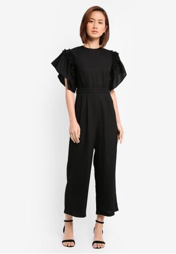 ZALORA black Ruffle Sleeve Jumpsuit 35F78AABB90E73GS_1