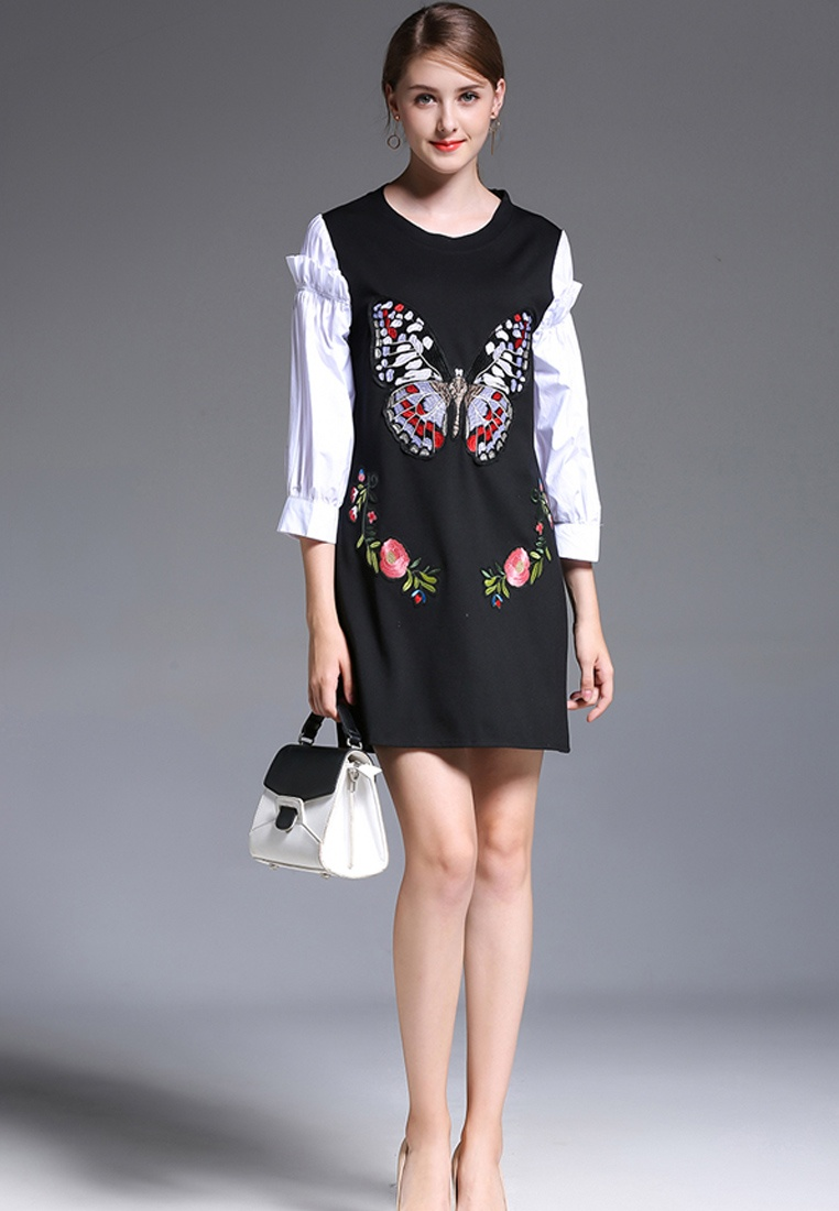 NBRAND Length 4 Stitching 3 Black A Embroidery Dress Butterfly Sleeve Line z5S5rdq