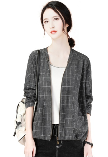 A-IN GIRLS grey Fashion Stand-Up Collar Checkered Coat 67CC9AAC64CB81GS_1