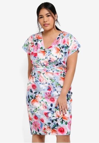 Little Mistress multi Plus Size Multi Floral Dress CC8F2AA1B75C7AGS_1