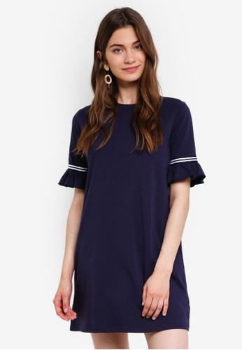 Something Borrowed navy Stripe Trim Flare Sleeves Dress 33D82AADAD2DEFGS_1