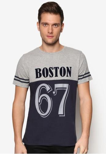 撞色拼肩文字設計TEE, 服飾, 印圖esprit outlet 台灣T恤