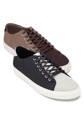 二入組撞色拼接仿zalora 手錶 評價皮休閒鞋, 鞋, 休閒鞋