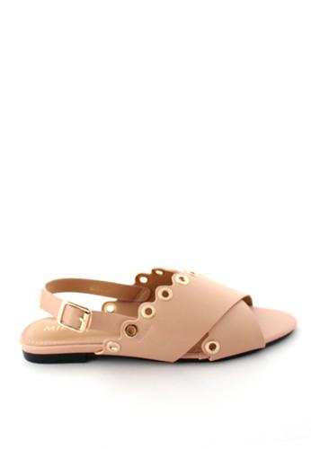 MINKA beige GAIA Nude Eyelet Sandal MI006SH0U43TID_1