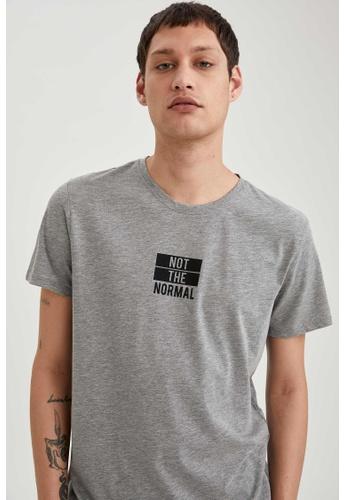 DeFacto grey Short Sleeve Round Neck Printed T-Shirt 3D8ACAA68E6007GS_1
