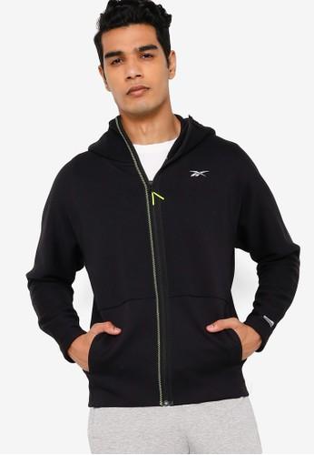 Reebok black DMX Knit Zip-Up Hoodie FD7D9AA62F1238GS_1