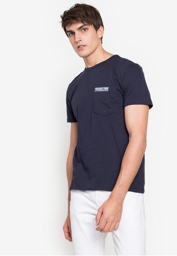 Freego navy Men Basic Fleece T-Shirt with Print on Pocket 94397AA9B15FE5GS_1