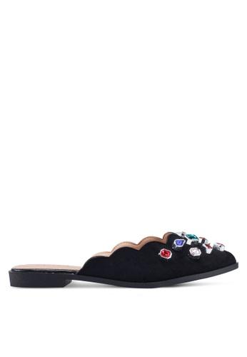 NOVENI black Bejewelled Slippers 036CESH3A97059GS_1