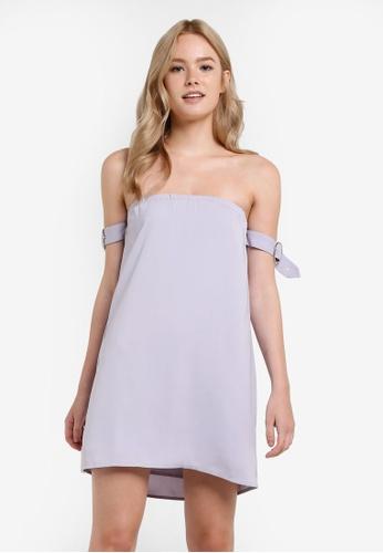 Something Borrowed grey Sleeve Detail Off Shoulder Dress 4BD55AA4AAC914GS_1